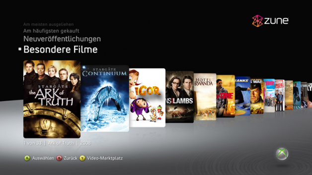 Zune Video Store (Xbox 360)