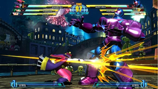 Marvel vs Capcom 3: Kampf zwischen Hsien-ko und Sentinel